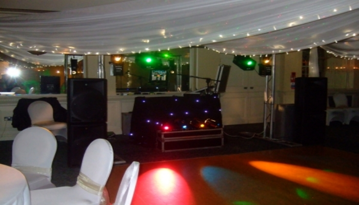 A mobile disco setup for a wedding reception